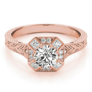 Vintage Eight-Prong 14K Rose Gold Engagement Ring