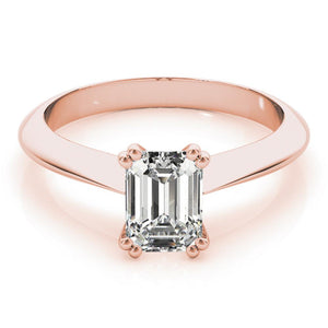 Emerald Solitaire 14K Rose Gold Engagement Ring