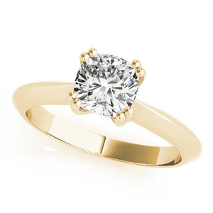 Solitaire Cushion 14K Yellow Gold Engagement Ring