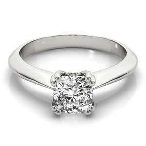 Solitaire Cushion 14K White Gold Engagement Ring
