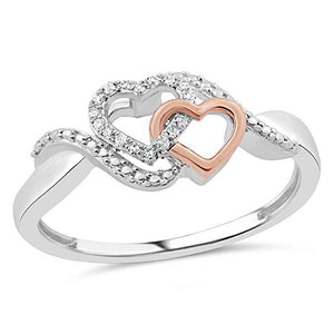 Allied Hearts Diamond Promise Ring In Sterling Silver With Intertwined 10K Rose Gold 1/10 Ct.Tw.