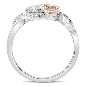 Allied Hearts Diamond Promise Ring In Sterling Silver With 10K Rose Gold 1/20 Ct.Tw.