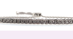 1 CT. TW. White Sapphire Round Bolo Bracelet in Sterling Silver