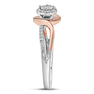 Brilliant Unity Diamond Promise Ring In Sterling Silver And 10K Rose Gold