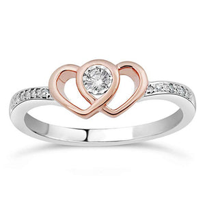 Companion Heart Diamond Promise Ring In Sterling Silver With 10K Rose Gold