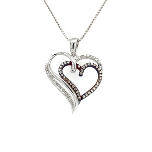 0.25 CT. TW. Round Heart Pendant in Sterling Silver & Rose Gold
