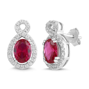 Lab-Created Ruby and White Sapphire Oval Halo Earring