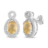 Natural Citrine and White Sapphire Oval Halo Earring