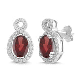 Natural Garnet and White Sapphire Oval Halo Earring