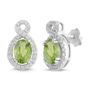 Natural Peridot and White Sapphire Oval Halo Earring