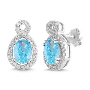 Lab-Created Aquamarine and White Sapphire Oval Halo Earring