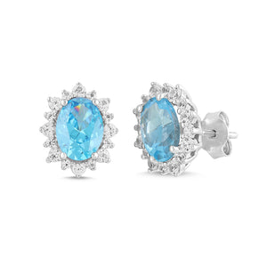 Natural Blue Topaz and White Sapphire Oval Halo Earrings