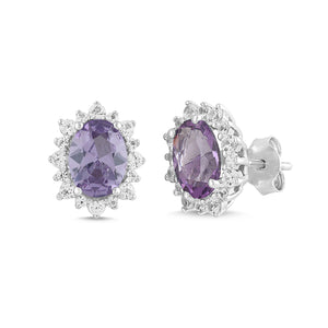Natural Amethyst and White Sapphire Oval Halo Earring