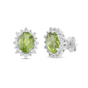 Natural Peridot and White Sapphire Oval Halo Earrings