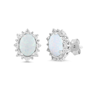 Lab-Created Opal and White Sapphire Oval Halo Earring