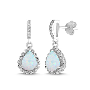 Lab-Created Opal and White Sapphire Pear Halo Earring