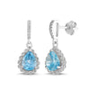 Lab-Created Aquamarine and White Sapphire Pear Halo Earring
