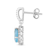 Natural Blue Topaz and White Sapphire Pear Halo Earring