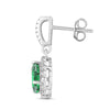 Lab-Created Emerald and White Sapphire Pear Halo Earring