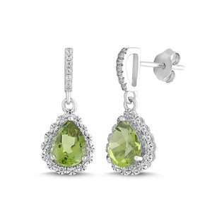 Natural Peridot and White Sapphire Pear Halo Earring