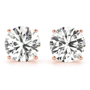 1.5 CT. TW. 14K Rose Gold Moissanite Studs