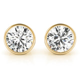 Round 14K Yellow Gold Bezel Stud Earrings