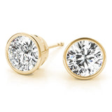 Round Bezel 14K Yellow Gold Moissanite Studs