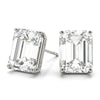 Emerald 14K White Gold Moissanite Four Prong Studs