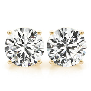 Round 14K Yellow Gold Four-Prong Stud Earrings