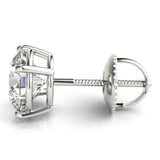 2 CT. TW. Round 14K White Gold Four-Prong Moissanite Stud Earrings