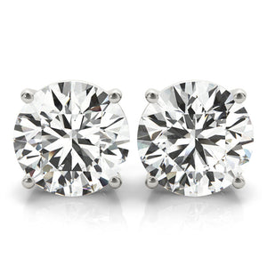Round 14K White Gold Four-Prong Stud Earrings
