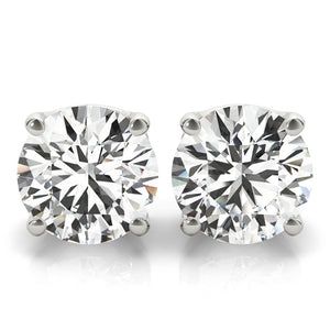 Round 14K White Gold Crown Stud Earrings