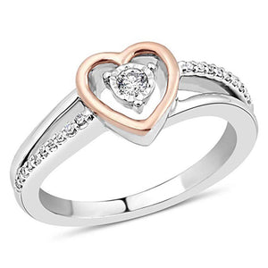 Hearts Essence Diamond Promise Ring In Sterling Silver With 10K Rose Gold
