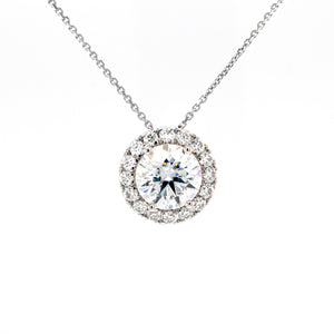 2 CT. TW. Halo Moissanite Slide Necklace In 14K White Gold