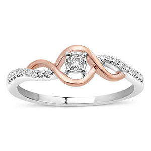 Linked Destiny Diamond Promise Ring In Sterling Silver And 10K Rose Gold