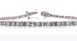 1 CT. TW. Round Opal & White Sapphire Bracelet in Sterling Silver