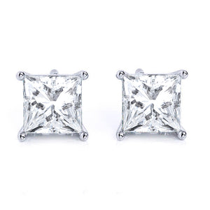 Princess 14K White Gold Four-Prong Stud Earrings