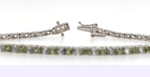 1 CT. TW. Round Peridot & White Sapphire Bracelet in Sterling Silver