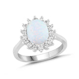 Lab-Created Opal and White Sapphire Halo Ring