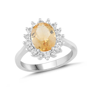 Natural Citrine and White Sapphire Halo Ring