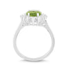 Natural Peridot and White Sapphire Halo Ring
