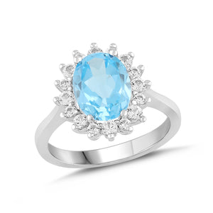 Natural Blue Topaz and White Sapphire Halo Ring