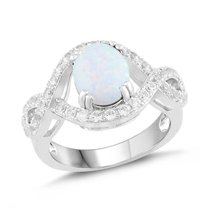 Lab-Created Opal and White Sapphire Halo Twist Ring