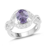 Natural Amethyst and White Sapphire Halo Twist Ring