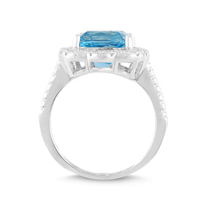 Natural Blue Topaz and White Sapphire Cushion Halo Ring