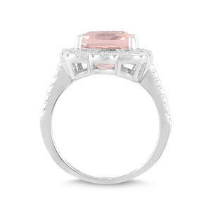 Lab-Created Morganite and White Sapphire Cushion Halo Ring