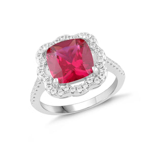 Lab-Created Ruby and White Sapphire Cushion Halo Ring