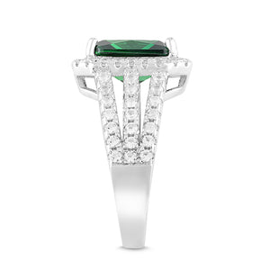 Lab-Created Emerald and White Sapphire Halo Ring