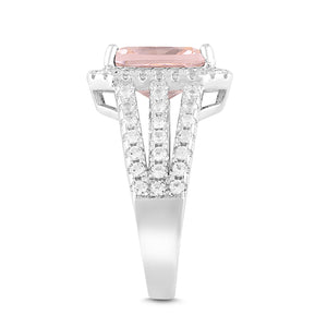 Lab-Created Morganite and White Sapphire Halo Ring