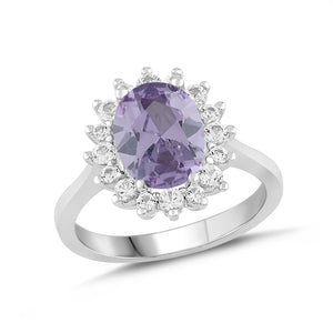 Lab-Created Alexandrite and White Sapphire Halo Ring